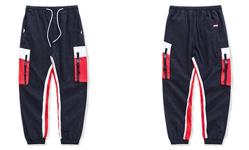 Aolamegs Men Side Strip Track Pants Pocket Pants Men Elastic Waist Sweatpants Casual Streetwear Hip Hop Men High Street Pants (12)