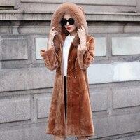 Зимние женские Крытая Кнопка Slim Flare рукавом искусственной овечьей шерстью пальто Полный Пелт толстые теплые искусственного меха Верхняя од