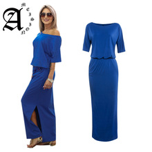 Ameision Summer Dress 2019 New Long Maxi Casual Sexy Loose Off shoulder short sleeve Elegant Side open pockets Women Dresses