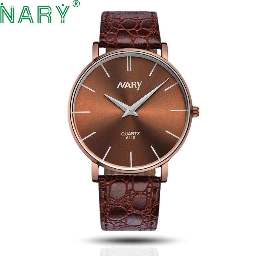 Essential Wristwatch Bangle Bracelet Waterproof Men Slim Big Dial Business Sport Leather Quartz Watch DropShipping 17Tue27