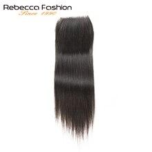 Rebecca 4x4 закрытия шнурка /средний/три части прямые волосы закрытие перуанские волос человеческих волос 8 до 20 дюймов