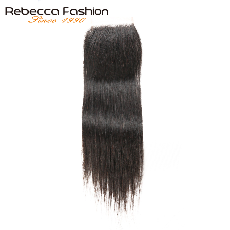 Rebecca 4x4 Lace Closure Free/Middle/Three Part Straight Hair Closure Peruvian Hair Remy Human Hair 8 To 20 Inch Free Shipping