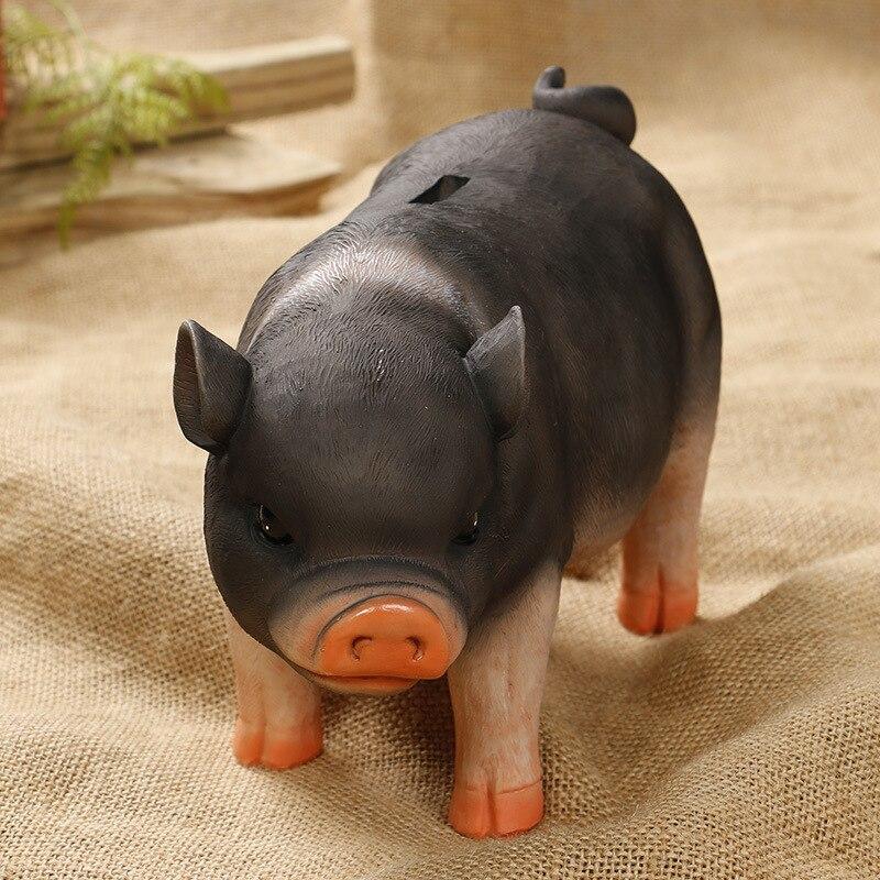 XUNZHE Black Piglet Piggy Natural Resin Bank Piggy banks gift kids money boxes Coin Piggy Bank Money Saving Box Moneybox