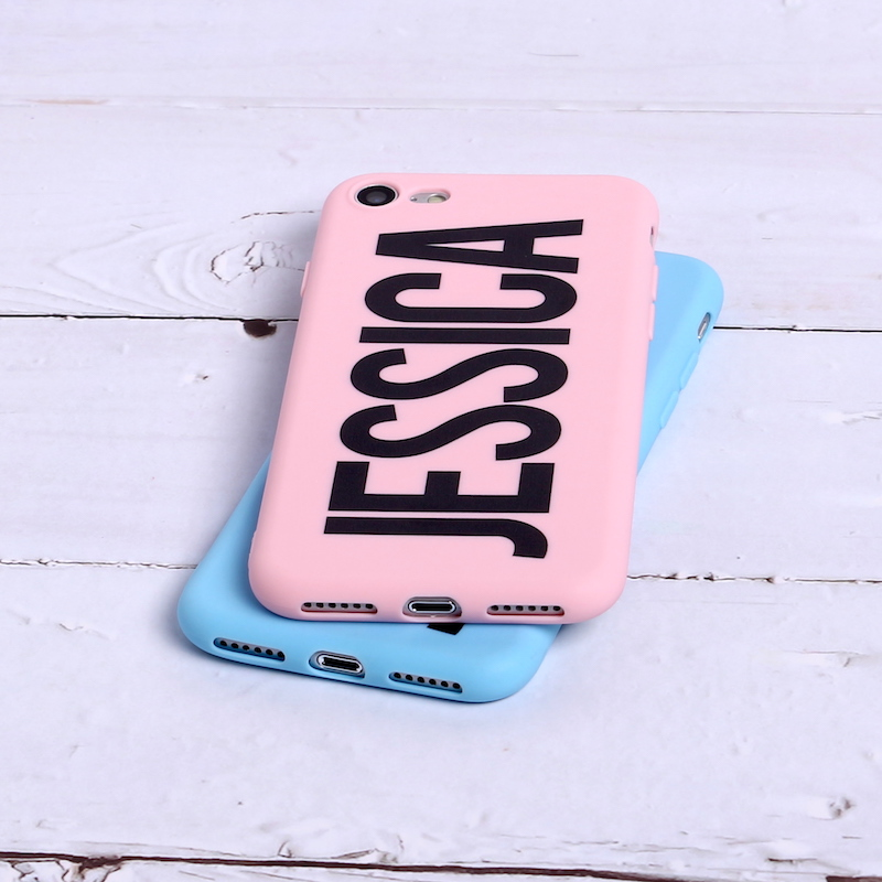 For iPhone 6 6S XS Max XR 7 7Plus 8 8Plus X 5 SAMSUNG Soft Cover Phone Case Personalized Custom Name Text Matte Candy Color in Fitted Cases from Cellphones Telecommunications