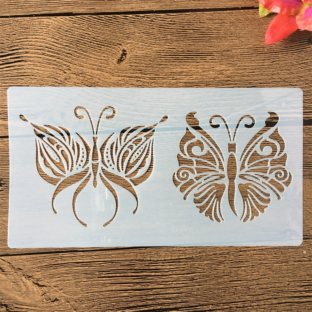 22*12cm Two Butterflies DIY Craft Layering Stencils Painting Scrapbooking Stamping Embossing Album Paper Card Template