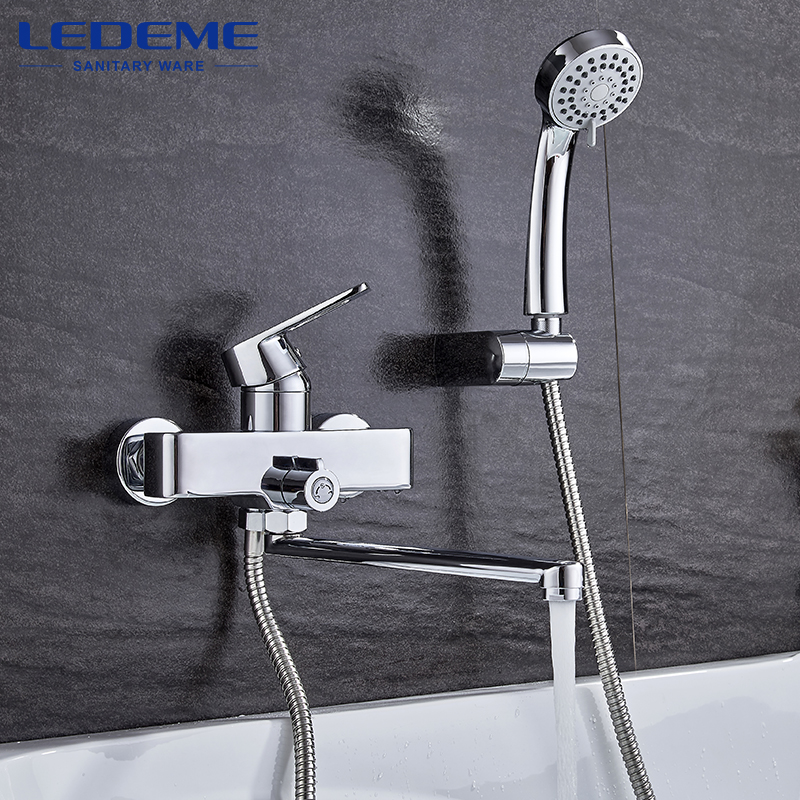 LEDEME 1 Set Shower Faucet Sets Classic Single Handle Brass Bathroom Faucet Bath Faucet Mixer Tap Shower Head Kit Bathtub L2255 gappo classic chrome bathroom shower faucet bath faucet mixer tap with hand shower head set wall mounted g3260
