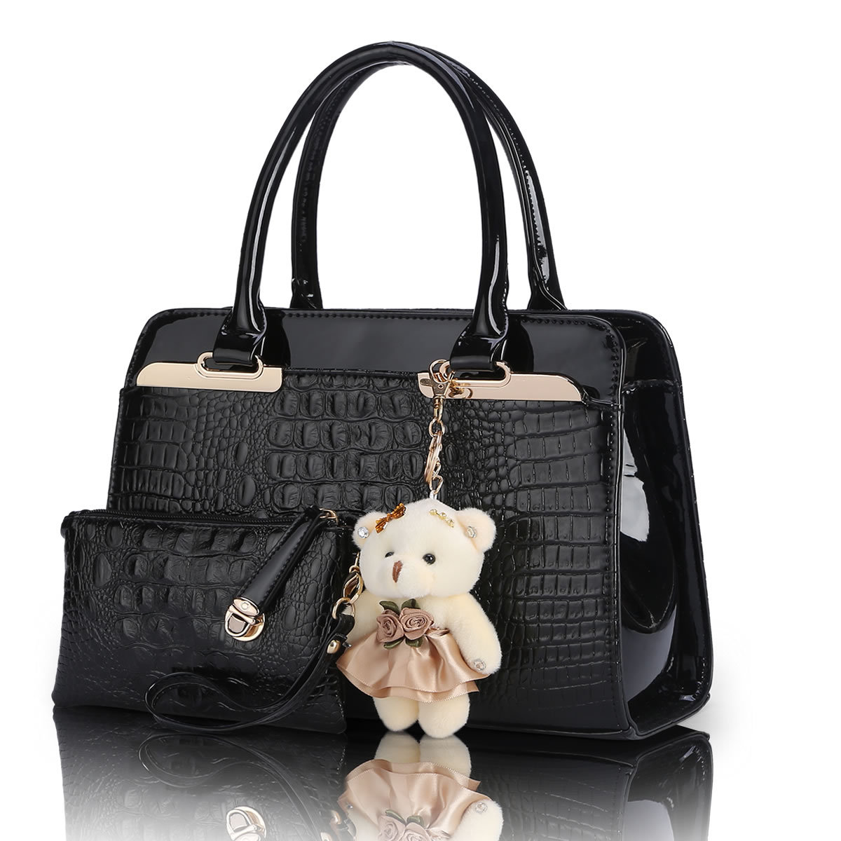 2 bags/set with bear toy  European and American fashion casual alligator pattern handbag  patent PU leather shoulder bag Q5
