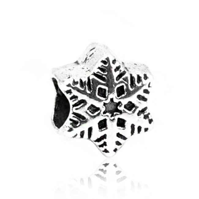 ヴィンテージスノーフレーク木ワピチ雪だるまクリスタルクマパンドラチャームビーズフィットオリジナルブレスレット女性のためのクリスマスプレゼントを作る