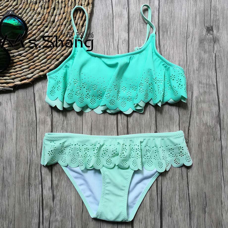 Cuekondy 7-14 Years Old Girls Kids Children Hollow Ruffles Lace Two Piece Bikini Swimwear Swimsuit Bathing Suit Set