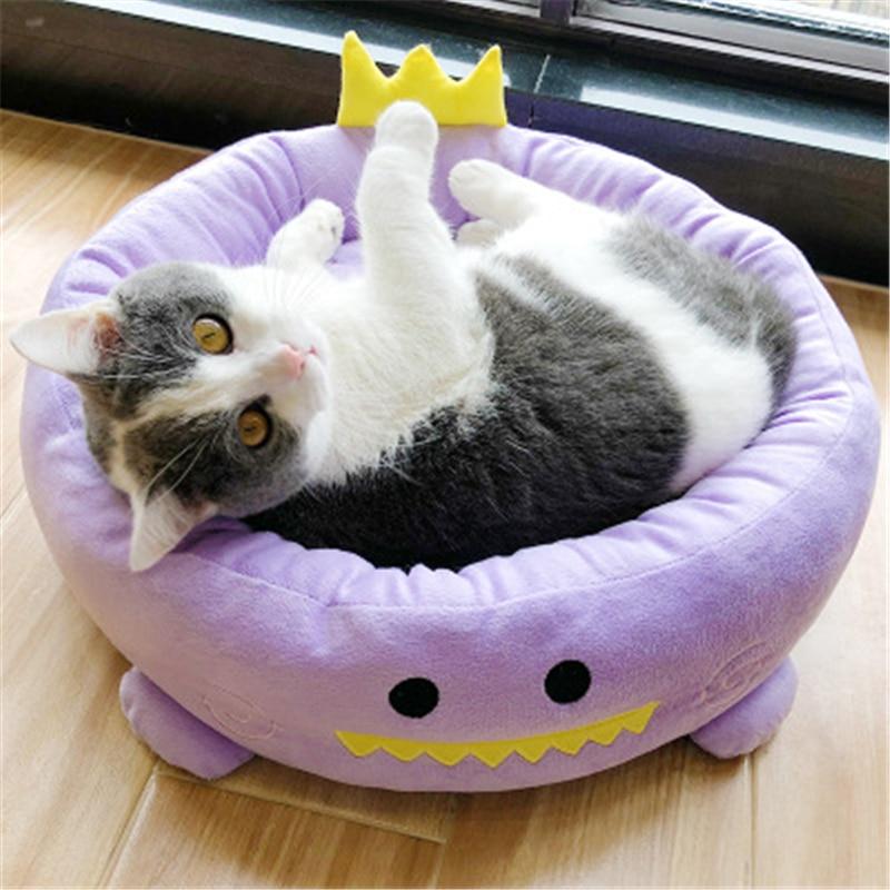 LA VIE 2 in 1 Multifunzione Casette Pieghevole per Cani Cuccia Gatto Letto Cuscino Morbido Gatto Nido Comodo Casa Caldo per Gatti Cane Piccolo L in Gufo