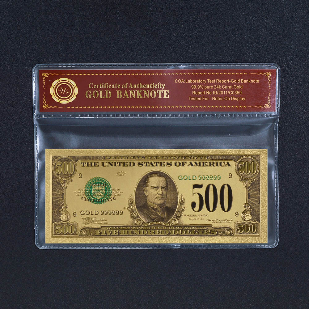 Replica Gold Banknote Colorized U S Dollar Bills 500 24k For Home Dector Garden In Banknotes From On Aliexpress