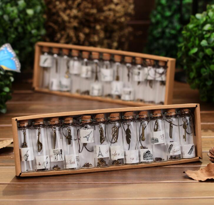 12pcs/pack Creative Gift Cute Mini Glass Cork Stopper Wishing Bottles Vials Containers Small Vintage Ornaments Craft Decor