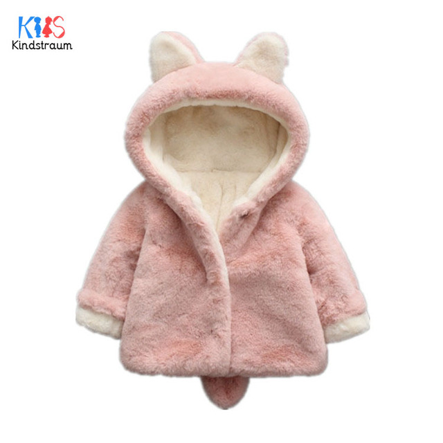 Kindstraum 2018 Children Fuzzy Rabbit Style Coats Winter Girls Solid