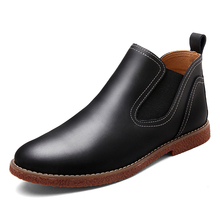 2016 Vintage Brand Chelsea Boots Men Leather Black Brown Men Boots Genuine Leather Ankle Boots Comfortable High Quality