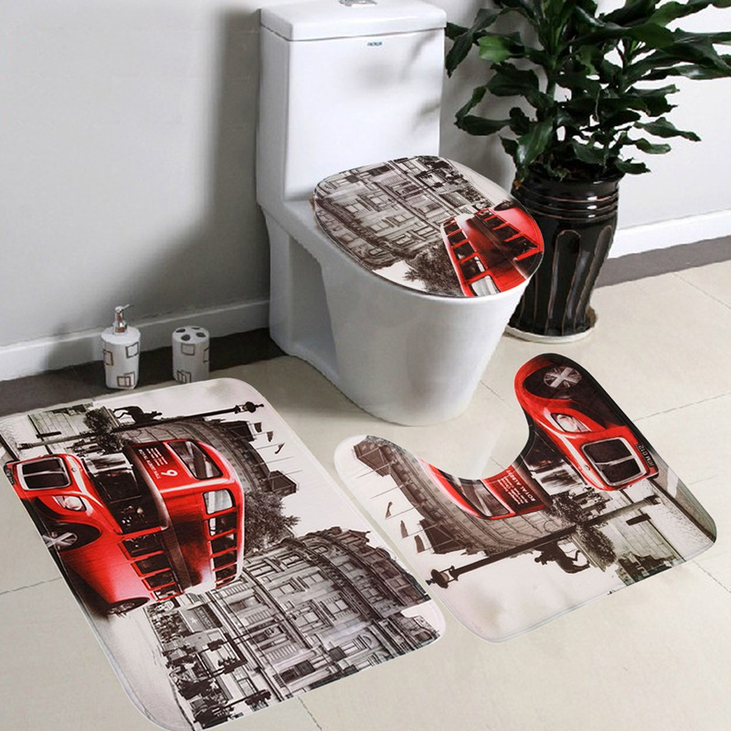 flannel soft bath mat set 3pcsset bathroom nonslip mats red bus pedestal rug lid toilet cover carpet bathroom set - Rug Sets