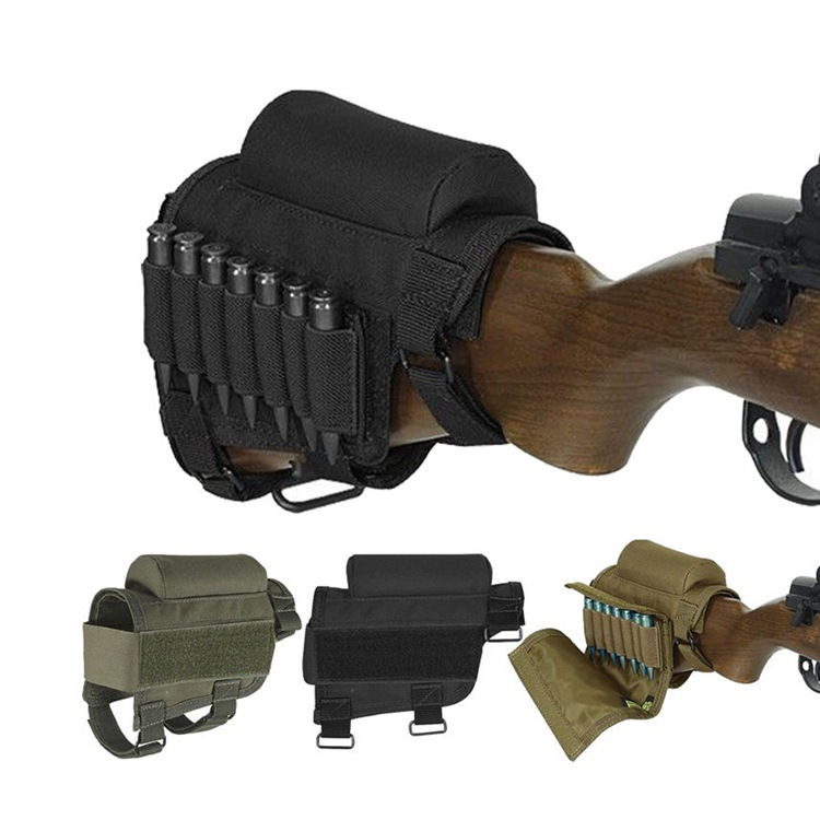 Nylon Tactical rifle Cheek rest Riser pad Ammo cartuchos Carrier holder bolsa lienzo cartucho redondo Shell buttstock Ammo