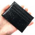 Slim ID Card Wallet For Men High Quality Black Serpentine Patent Leather Credit Card Holder 2017 New Fashion Card Case Protector