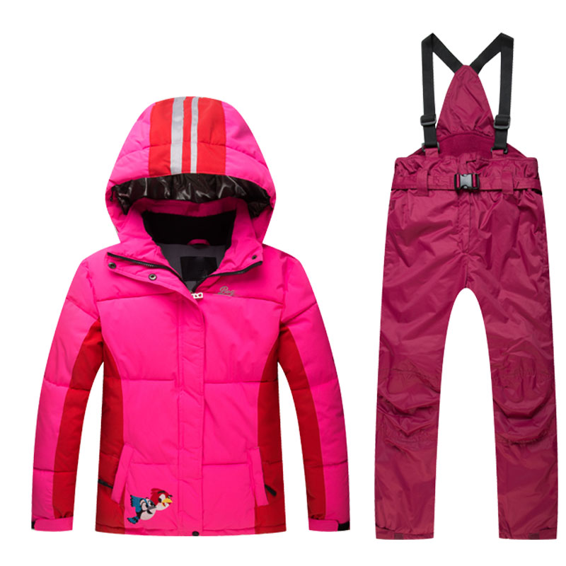 Boys Girls Snow Suits Kids Ski Jacket + Pants Windproof Waterproof Breathable Winter Warm Clothing Children Suit Set For Skiing 2016 new brand children snow runner self balance scooter snow bicycle for kids ski kits
