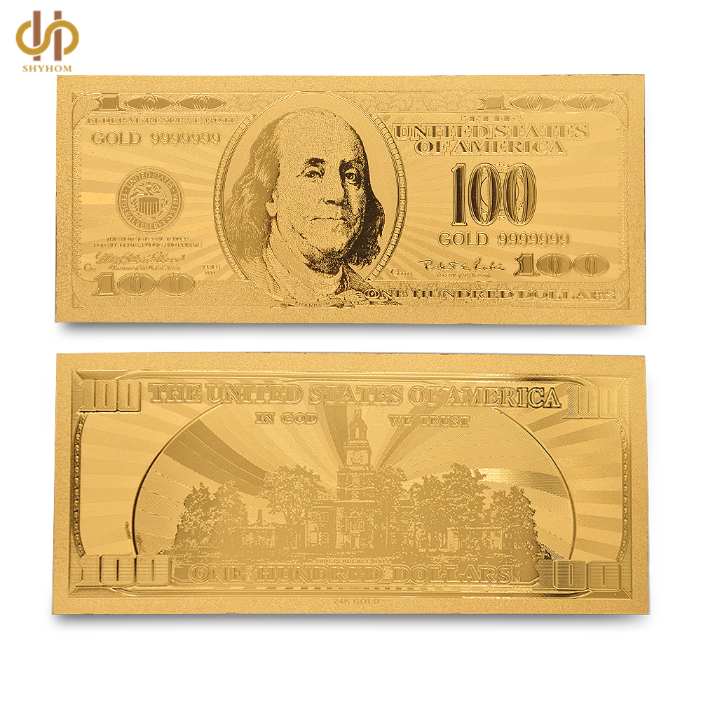 5pcs Usa Banknotes 24k Gold Plated 100 Dollar Bill Copy Paper Money Banknote Currency Collection
