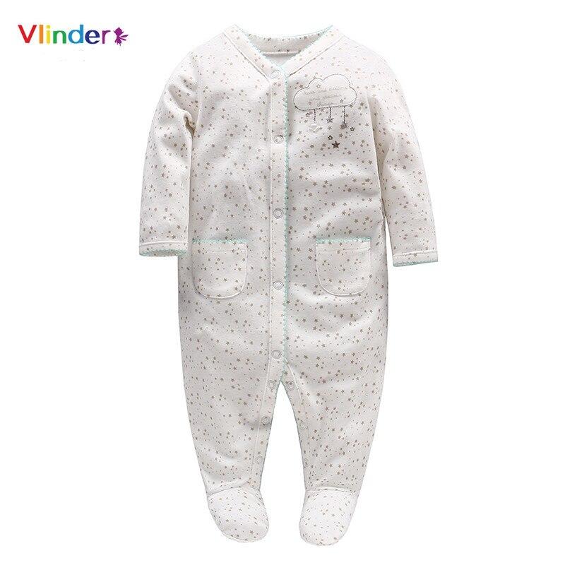 Vlinder 2018 New Baby Girls Rompers Newborn Stars Clouds Print Button - Babykleding