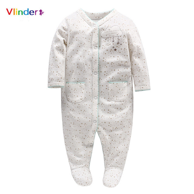 Vlinder 2018 New Baby Girls Rompers Newborn Stars Clouds Print Button Pocket Sleeves Jumpsuit Infant Pajamas Cotton Snug Long