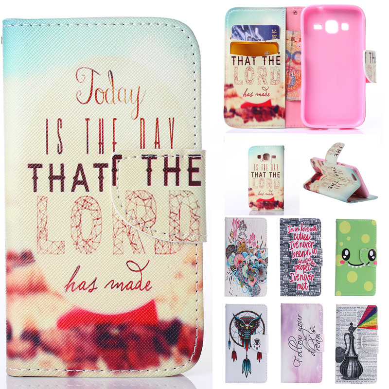 Cute Cartoon Owl Wallet Leather Flip Fundas Case For Samsung Galaxy J1 J100/ J1 Ace J110/ J2 J200/ J5 J500/ J7 J700 2015 Cover