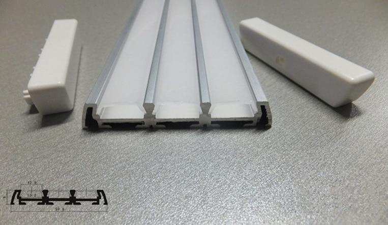 آلومینیوم آنودایز 3 ردیف LED نوار نور نوار مسکن W صدف پوشش سفید و پایان ، 0 ~ 300cm طول خوب ، حمل و نقل رایگان