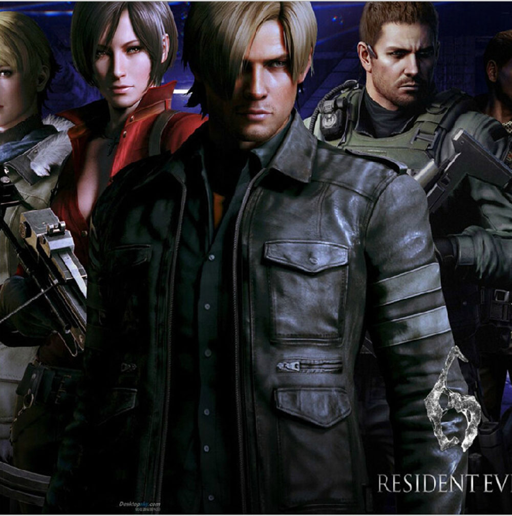 Games Costumes Men's Leon S Kennedy PU leather jacket Cosplay Casual Men wear leather trim coats with lapels