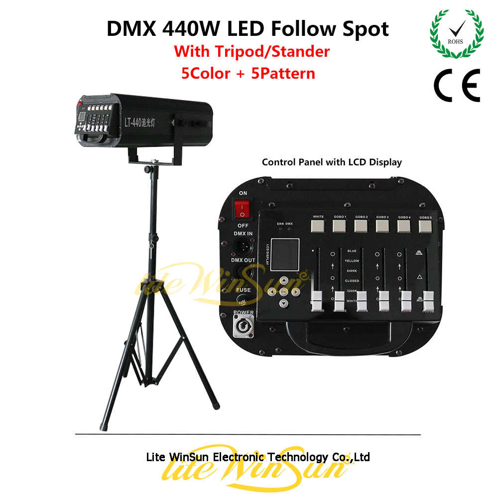 LED Follow Spot Lampu Performace Followspot LED 440W Daya Tinggi dengan Tripod
