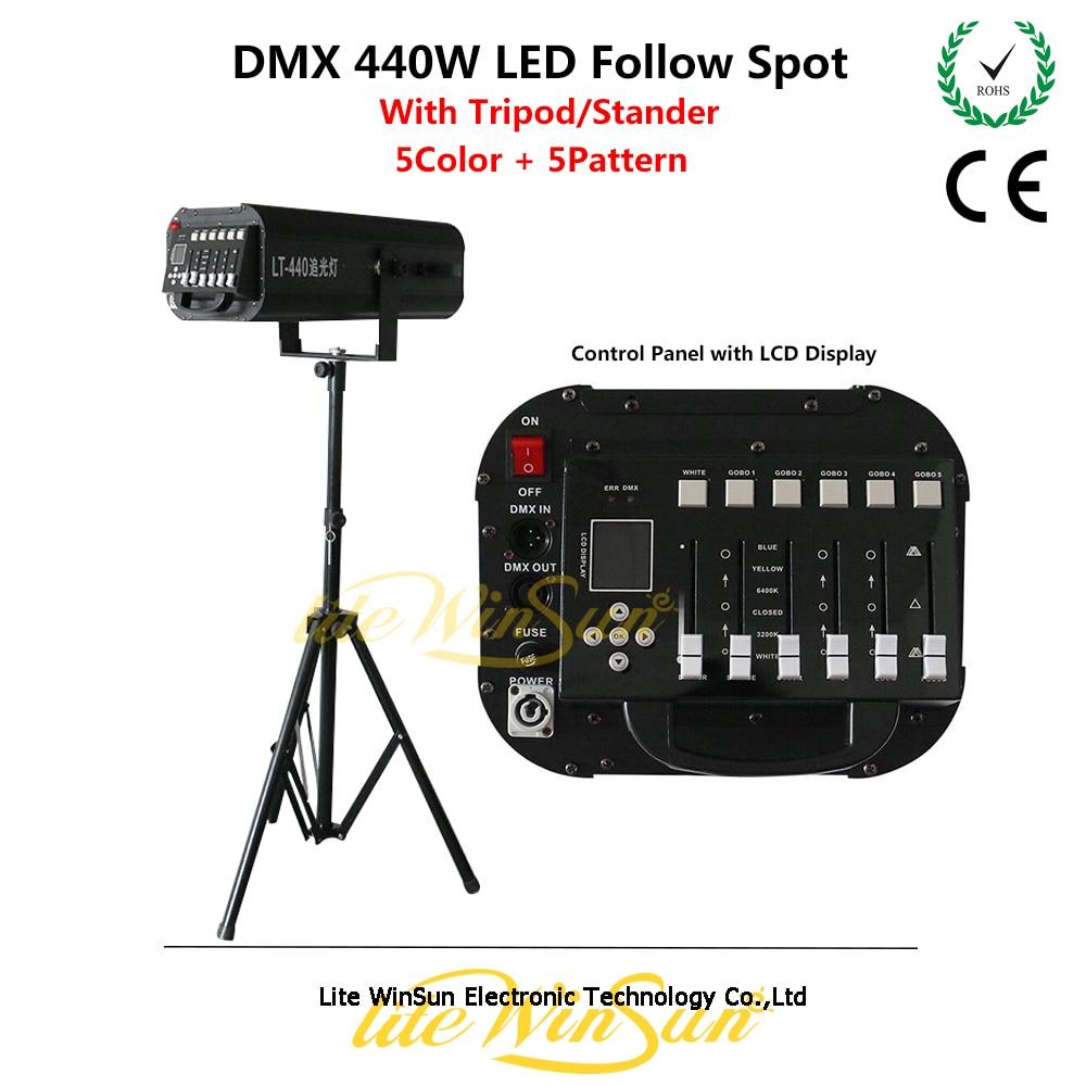 Litewinsune 2018 Новый DMX512 следовать пятно Освещение performace followspot LED 440 Вт высокое Мощность со штативом