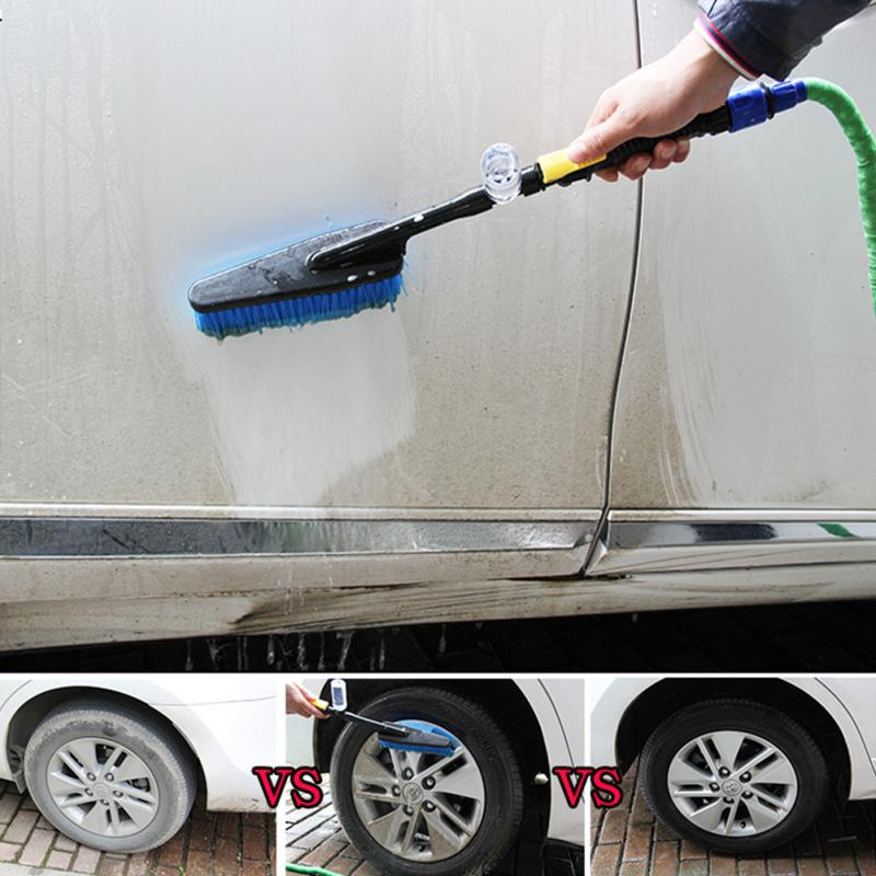 2019 Durable Car Wash Brush Auto Exterior Retractable Long Handle Water Flow Switch Foam Bottle Car Cleaning Brush