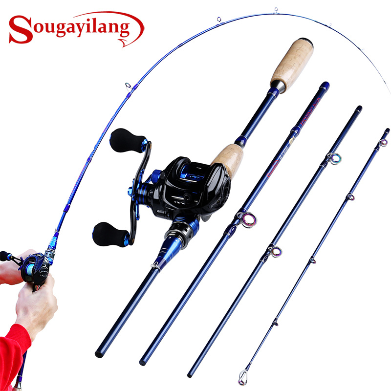 Sougayilang Fishing Rod Combo Lure Rod 2 1M 2 4M 4 Sections Travel Rod and Baitcasting