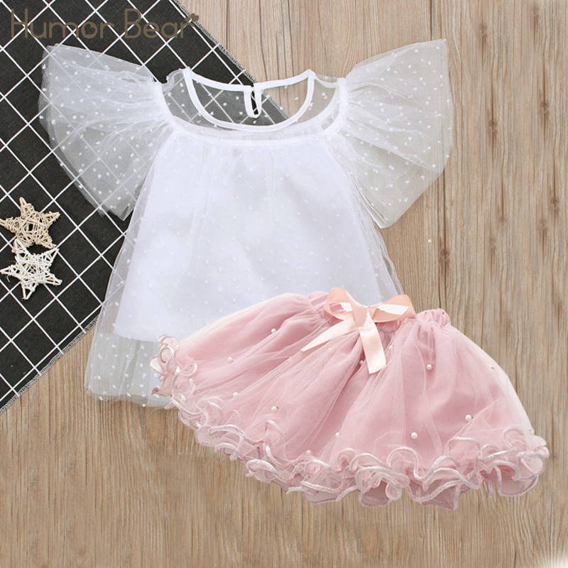 Humor Bear Baby Girl Clothes Suit Feifei Sleeve T-Shirt+Pearl Dress Clothing Set Kids Clothes Sets Girls Set Girls Suits humor bear baby girl clothes new spring and autumn long sleeve t shirt pink princess dress kids clothes girls clothing