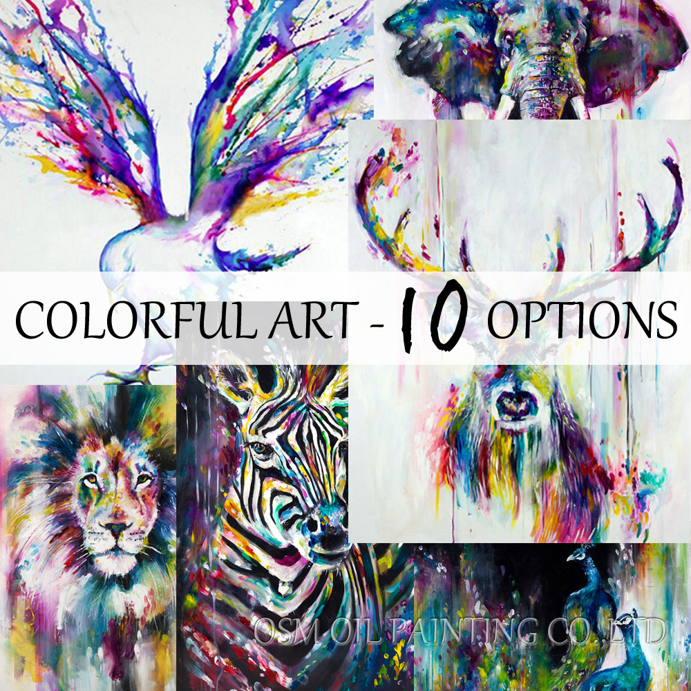 Best Selling Handmade Colorful Abstract Elephant Animals Pintura al - Decoración del hogar