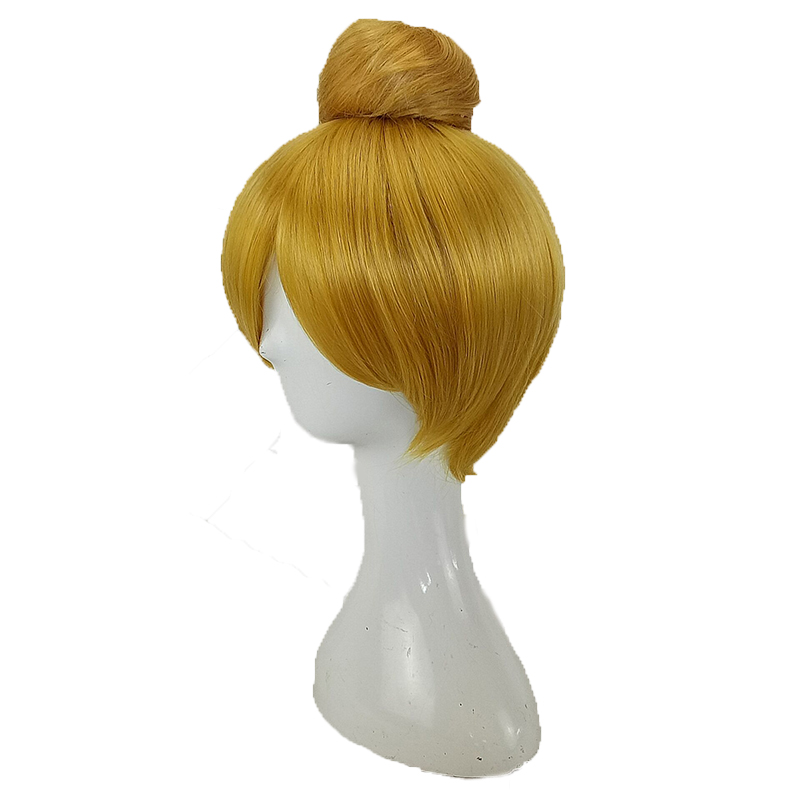 HAIRJOY  Synthetic Hair Tinker Bell Cosplay Wig with Detachable Bun Blonde Brown  Heat Resistant Costume Wigs 2