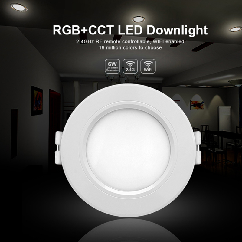 Milight FUT068 AC86-265V 6W RGB+CCT LED downlight Dimmable 2.4G Wireles Smart Led Lamp Lighting
