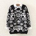 Nueva llegada Edgy negro cráneo de la mujer suéter de moda de manga larga del o-cuello de la mujer suéter tejido Jumper abrigo femenino Tops