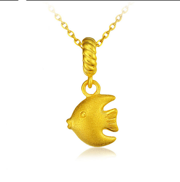 August Pure 24k Yellow Gold Ocean Fish Pendant 1.31g