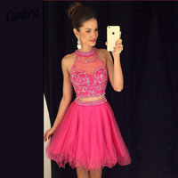 Fuchsia Elegant Cocktail Dresses A line Halter Organza Beaded Two Pieces Party Plus Size Homecoming Dresses