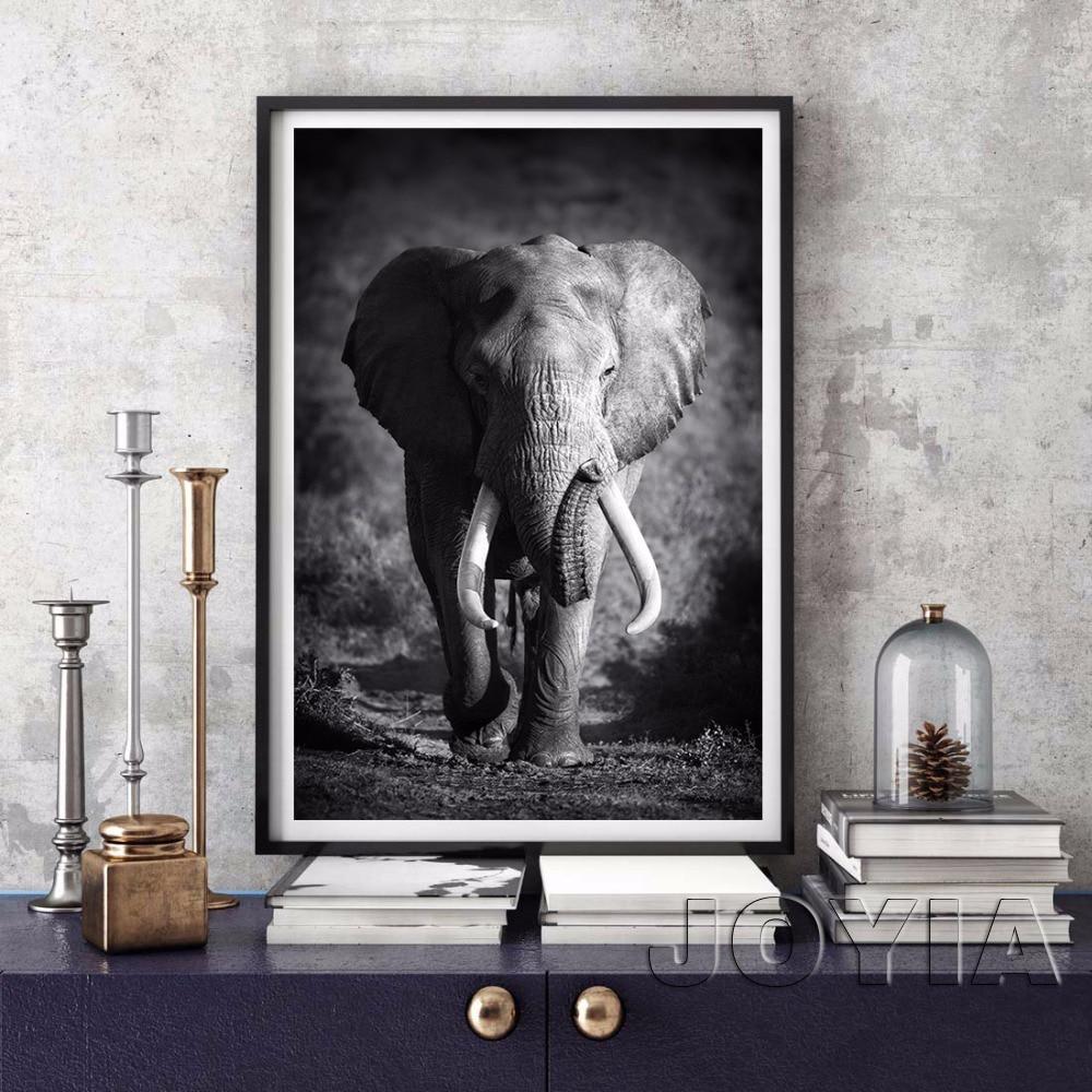 ᗛBlanco negro lona animal del elefante del arte de la pared imagen ...