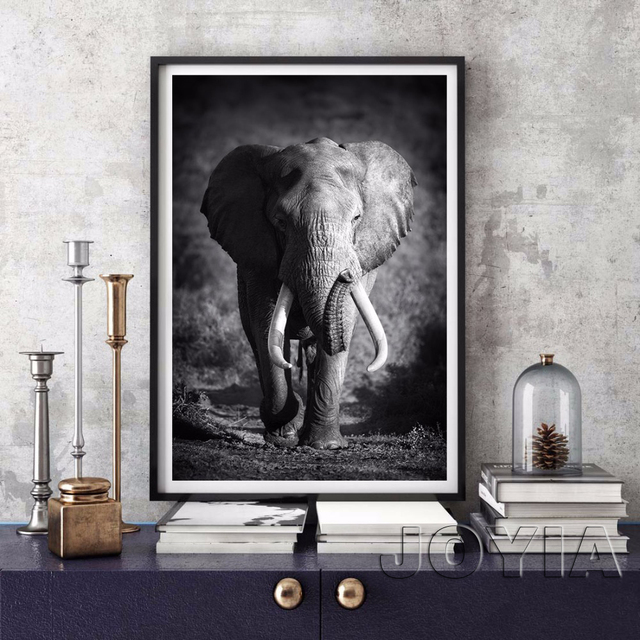 White Black Animal Canvas Wall Art Elephant Picture Modern Paintings For  Home Living Room Bedroom Study