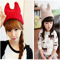 2016 New Wave of Cute Devil Horn Cap Orecchiette Hat Knitted Hat Female Autumn and Winter Selling Wool Hat Parent-child Cap