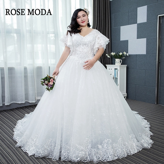 Rose Moda Short Sleeves Lace Plus Size Wedding Dress Long Train Lace ...