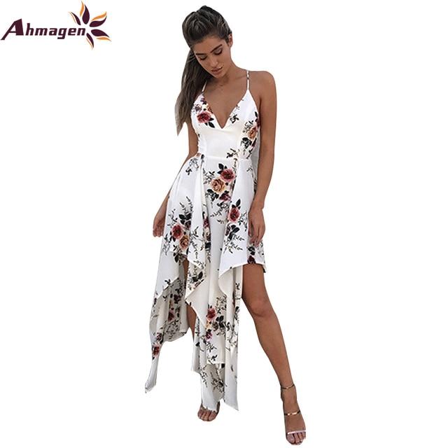 aa4005c037 Ahmagen Floral Print Boho Chiffon Maxi Dresses Spaghetti Strap Irregular Beach  Summer Dress Sexy Backless Women