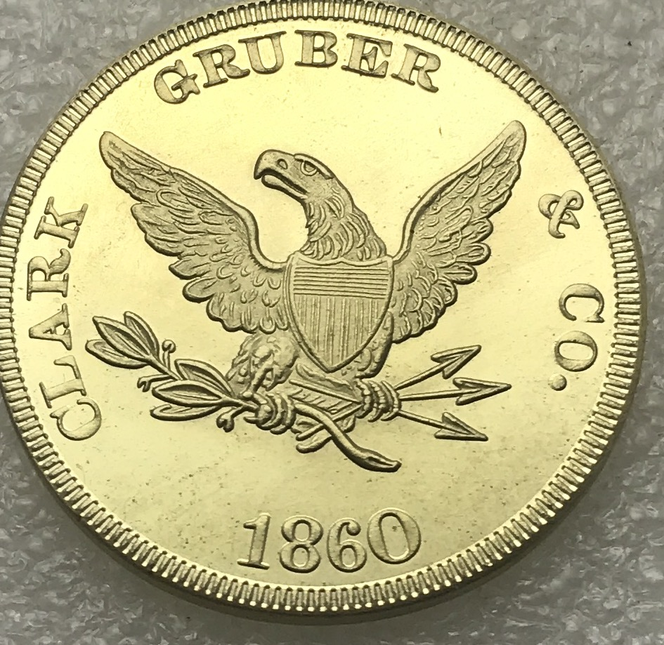 US $3 65 |United States 1860 Twenty Dollar Pikes Peak Gold Denver Clark  Gruber Co Brass Metal Copy Coin -in Non-currency Coins from Home & Garden  on