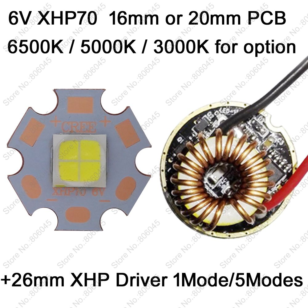 Cree XHP70 6V 6500K Cool White, 4500K Neutral White, 3000K Warm White High Power LED Emitter + 26mm 1 Mode or 5 Modes Driver 2pcs lot us cree cxa 3070 beads 117w high power led chip 2700 3000k 5000 6500k pure white warm white