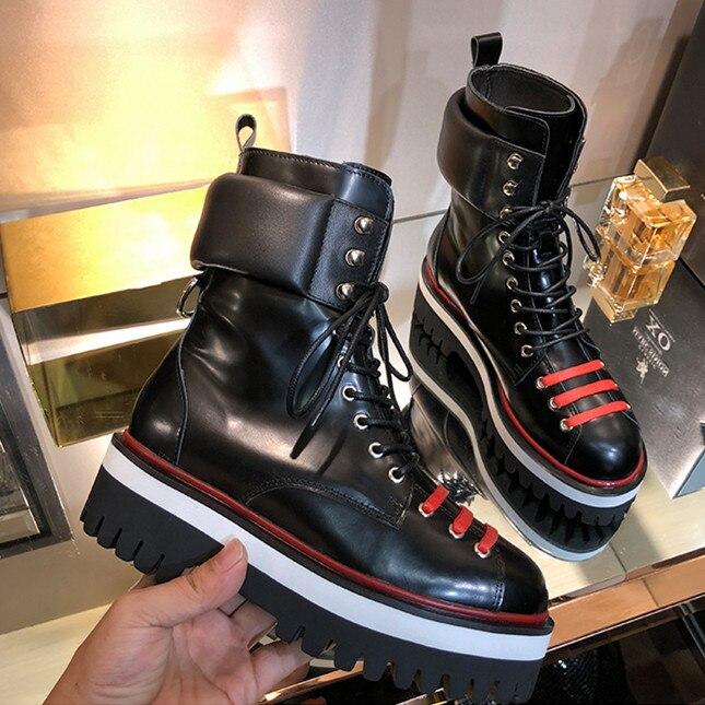 Cuero Decoración 2018 Med Con Cordones Mujer Pic Botas Pic Metal Martin Plataforma Botines as As Zapatos De wHqX0xEAI