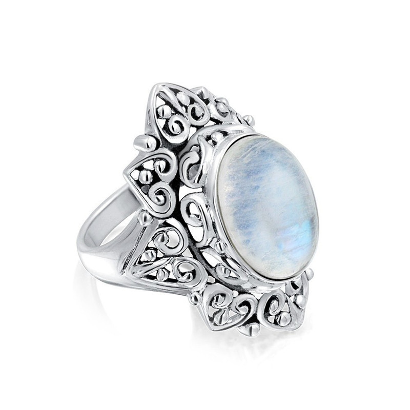 Large Vintage Moonstone Ring Hollow out Printing Ring ...