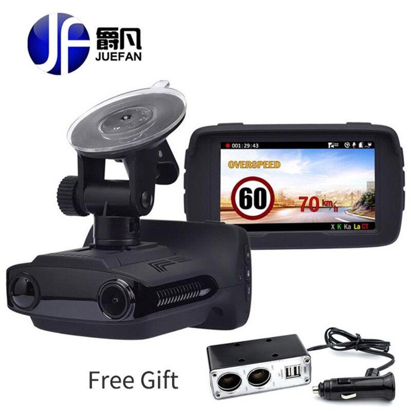 JUEFAN voiture dvr caméra radar détecteurs dash caméra vidéo enregistreur HD 1296 P Russe détecteur de radar d'alarme contrôle de vitesse du véhicule GPS