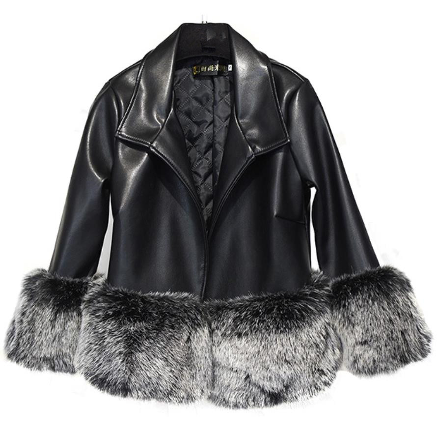 plus size 3XL!Women Winter Warm Faux Fur Jackets Coat Fashion Patchwork PU   Leather   Jackets